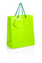 Green paper bag on white background Royalty Free Stock Images