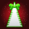 Green Paper Christmas tree with bow Royalty Free Stock Image