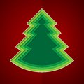 Green paper christmas tree on red background rgb eps Stock Image