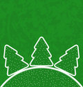 Green paper cut out set christmas tree illustration Stock Images