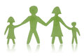 Green paper family isolated with reflection on white background Stock Photos