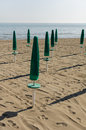Green parasol on the beach parasols a lonely Stock Photos