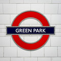 Green Park tube station sign - London Underground roundel Royalty Free Stock Photo