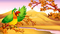 A green parrot in an autumn scenery illustration of Stock Photography
