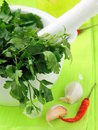 Green parsley in a mortar with garlic and pepper Stock Photography