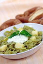 Green Pasta Salad With Curd Cheese And Yogurt Stock Images