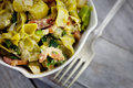 Green pasta with vegetables Royalty Free Stock Photo