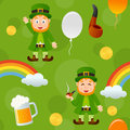 Green patrick s day seamless pattern a with leprechaun a rainbow a pipe a beer mug balloons and money on background useful also as Stock Photo