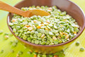 Green pea in the bowl Royalty Free Stock Image