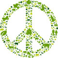 Green peace sign or symbol on white background Stock Photography