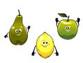 Green pear apple and yellow lemon fruits in cartoon mascot style for bio food concept design Stock Photography