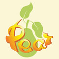 Green pear. Cursive lettering phrases.