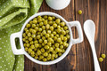 Green peas canned in a bowl Royalty Free Stock Images