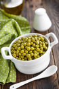Green peas canned in a bowl Stock Images