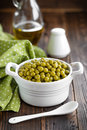 Green peas canned in a bowl Royalty Free Stock Photo