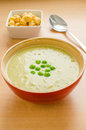 Green peas cream soup Stock Photography