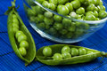 Green peas in glass bowl Royalty Free Stock Image