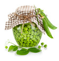 Green peas in glass jar Stock Image