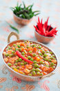 Green peas and paneer Stock Photo