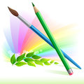 Green pencil and brush - leaves and rainbow color Royalty Free Stock Image