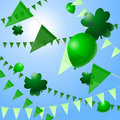 Green pennants and balloons Stock Images