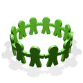 Green people connected in a circle holding their hands Royalty Free Stock Photo