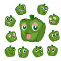 Green pepper cartoon with many expressions Royalty Free Stock Photography