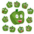 Green pepper cartoon with many expressions Stock Images