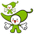 The green pepper mascot has been welcomed with both hands veget vegetable character design series Stock Photos