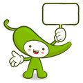 Green pepper mascot the left hand guides and the right hand is h holding a picket vegetable character design series Stock Image