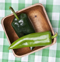 Green Peppers in a Bowl on a Picnic Blanket. Stock Photography