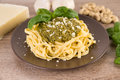Green pesto with noodles Royalty Free Stock Photo