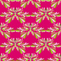 Green petals of flowers on a pink background vector seamless pattern Royalty Free Stock Photo