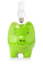 Green piggy-bank with lightbulb Stock Photography