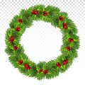 Green pine wreath. Large Christmas wreath with red berries, holly and fir branches. Christmas frame.Festive decorations.Vector