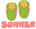 Green, Pink Flip Flops Summer Stock Image