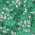 Green with pink flowers and leaves seamless pattern background design.