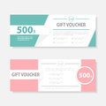 Green pink Gift voucher template with colorful pattern,cute gift voucher certificate coupon design template Royalty Free Stock Photo