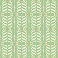 Green and Pink Retro Ogee Background Vector Seamless Pattern. Modern Classic Geometric pattern. Cream Feathers Print