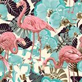 Green and pink seamless vector floral pattern background with tropical palm leaves, flamingo. Seamless pattern with