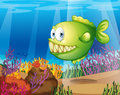 A green piranha illustration of Royalty Free Stock Images
