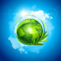 Green planet with blue sky and clouds vector illustration Royalty Free Stock Image