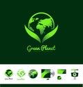 Green planet earth logo icon design Royalty Free Stock Photo