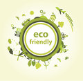 Green planet with eco details Stock Photography