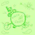 Green planet hand drawn vector Stock Images