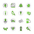 Green planet nature eco source energy lineart flat