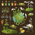 Green planet thematic illustrations for environmental movement and environmental issues Stock Image