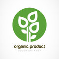 Green plant in circle vector logo template. Abstract design conc