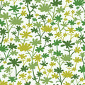 Green plants seamless pattern background vector with abstract with fun leaves and branches forming a floral texture Stock Image