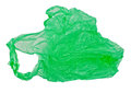 Green plastic bag on a white background Stock Image
